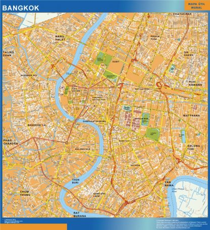 Biggest Bangkok laminated map