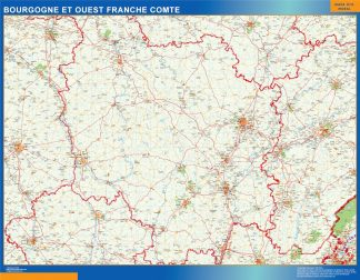 Biggest Bourgogne Franche Comte laminated map