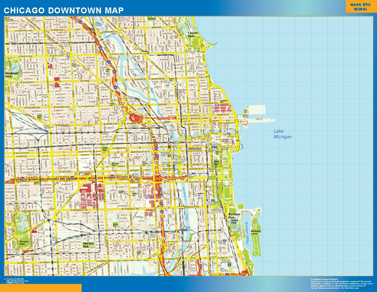 Chicago Downtown Map Wall Maps Of The World Countries For