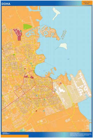 Biggest Doha Area laminated map
