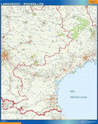 Biggest Languedoc Roussillon laminated map