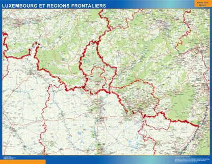 Biggest Luxembourg Regions Frontaliers laminated map