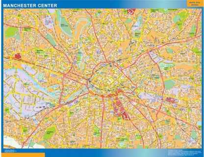 Biggest Manchester downtown map