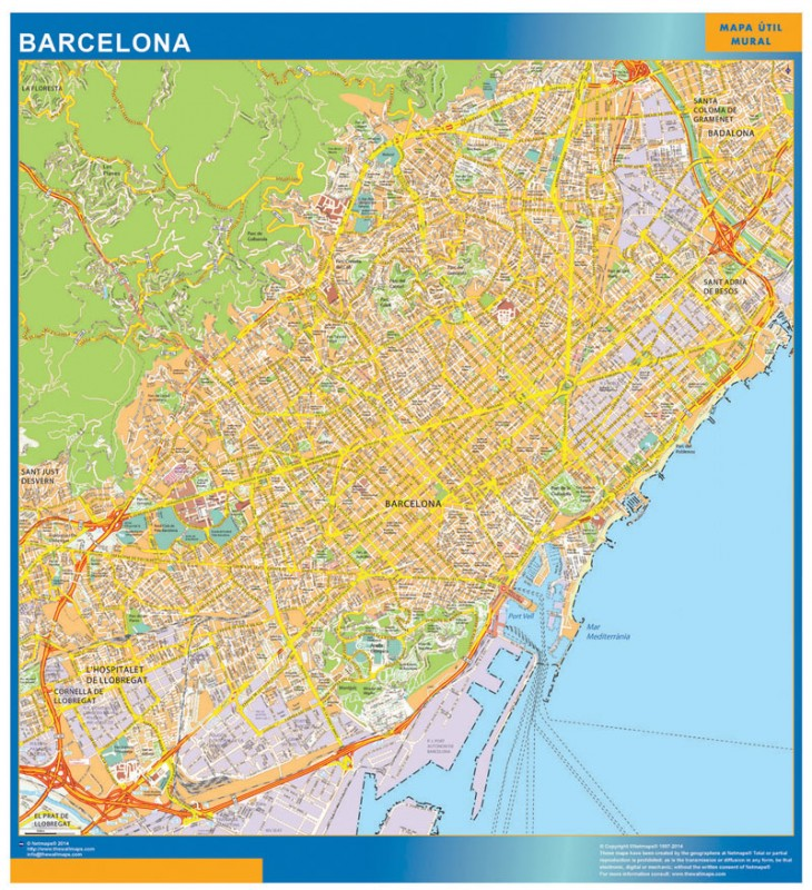 Biggest Map Of Barcelona Spain Wall Maps Of The World Countries For Australia