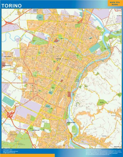 Biggest Map of Torino city in Italy