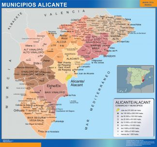 Biggest Municipalities Alicante map from Spain