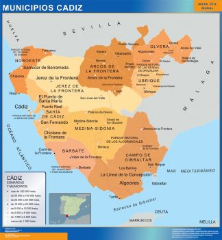 Biggest Municipalities Cadiz map from Spain