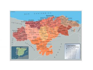 Biggest Municipalities Cantabria map from Spain
