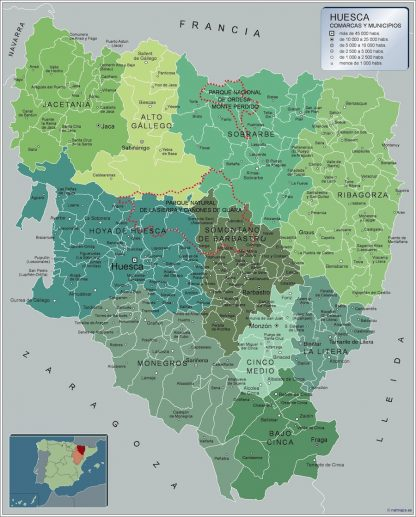 Biggest Municipalities Huesca map from Spain