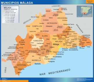 Biggest Municipalities Malaga map from Spain
