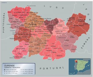 Biggest Municipalities Ourense map from Spain