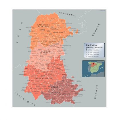 Biggest Municipalities Palencia map from Spain