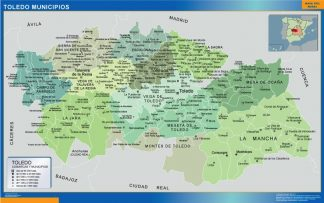 Biggest Municipalities Toledo map from Spain