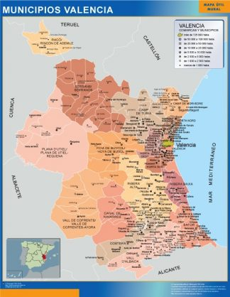 Biggest Municipalities Valencia map from Spain