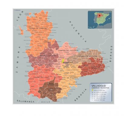 Biggest Municipalities Valladolid map from Spain
