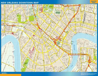 Biggest New Orleans downtown map