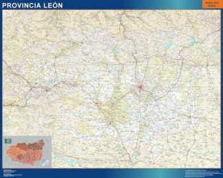 Biggest Province Leon map from Spain