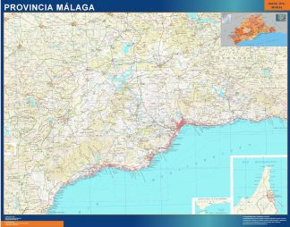 Biggest Province Malaga map from Spain