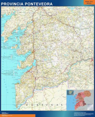 Biggest Province Pontevedra map from Spain