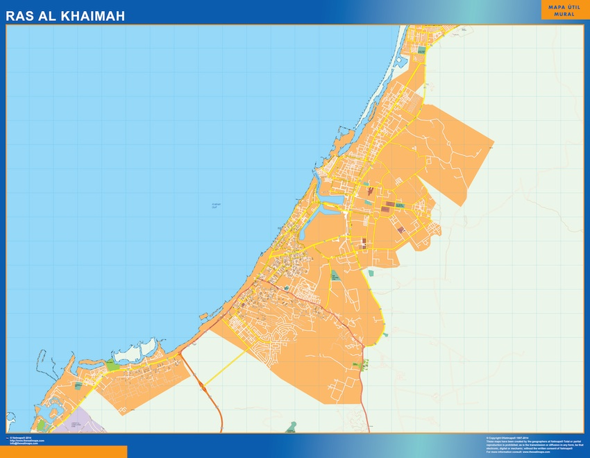 Ras Al Khaimah Map In Emirates Wall Maps Of The World