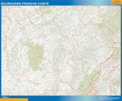 Biggest Region of Bourgogne Franche Comte map