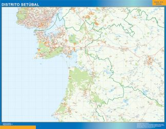 Biggest Region of Setubal map in Portugal