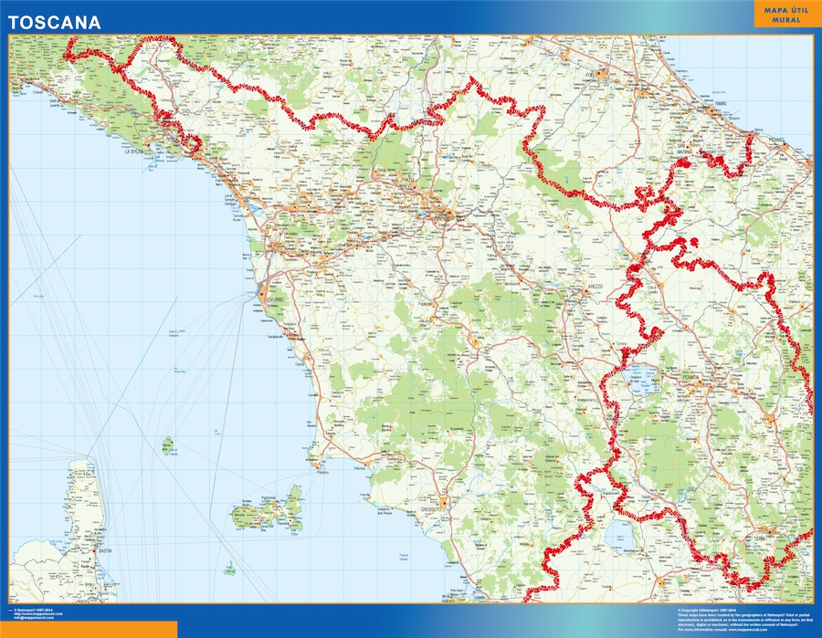La Toscana Cartina Geografica.Biggest Region Of Toscana In Italy