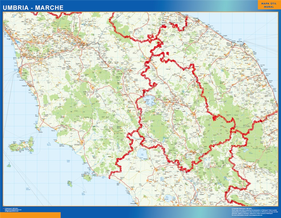 Umbria Marche Cartina.Region Of Umbria Marche In Italy Wall Maps Of The World Countries For Australia