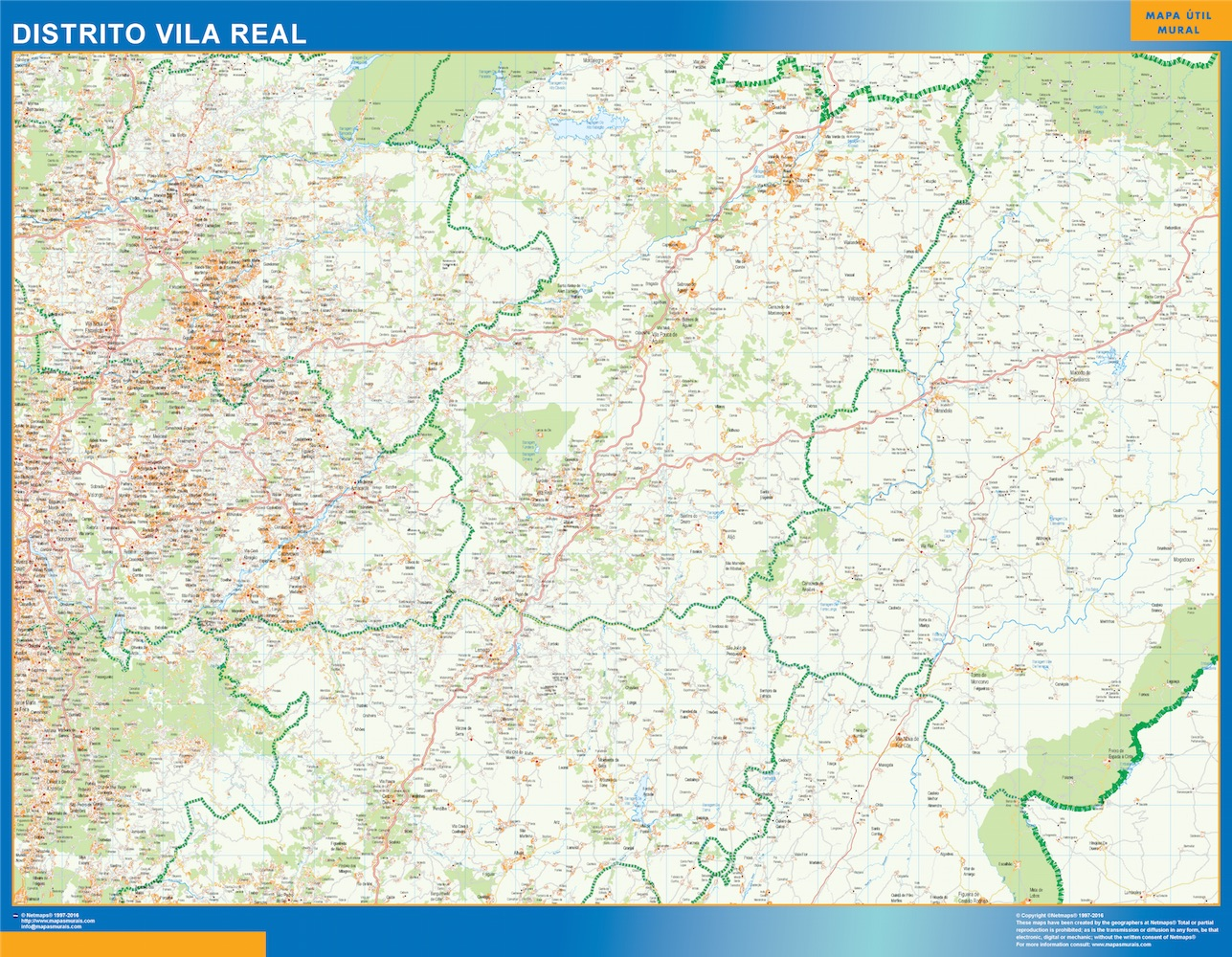Region Of Vila Real Map In Portugal Wall Maps Of The World