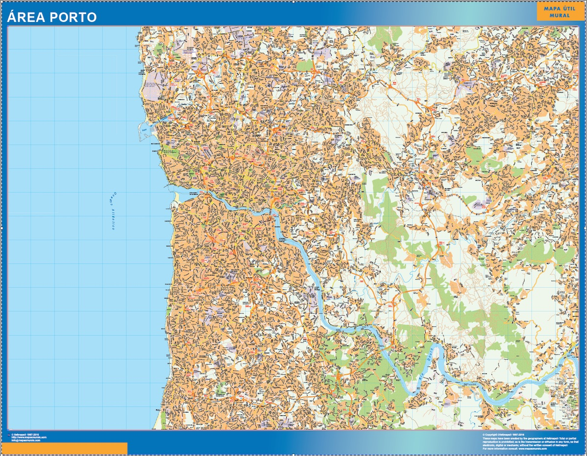 Road Map Porto Portugal Wall Maps Of The World Countries For
