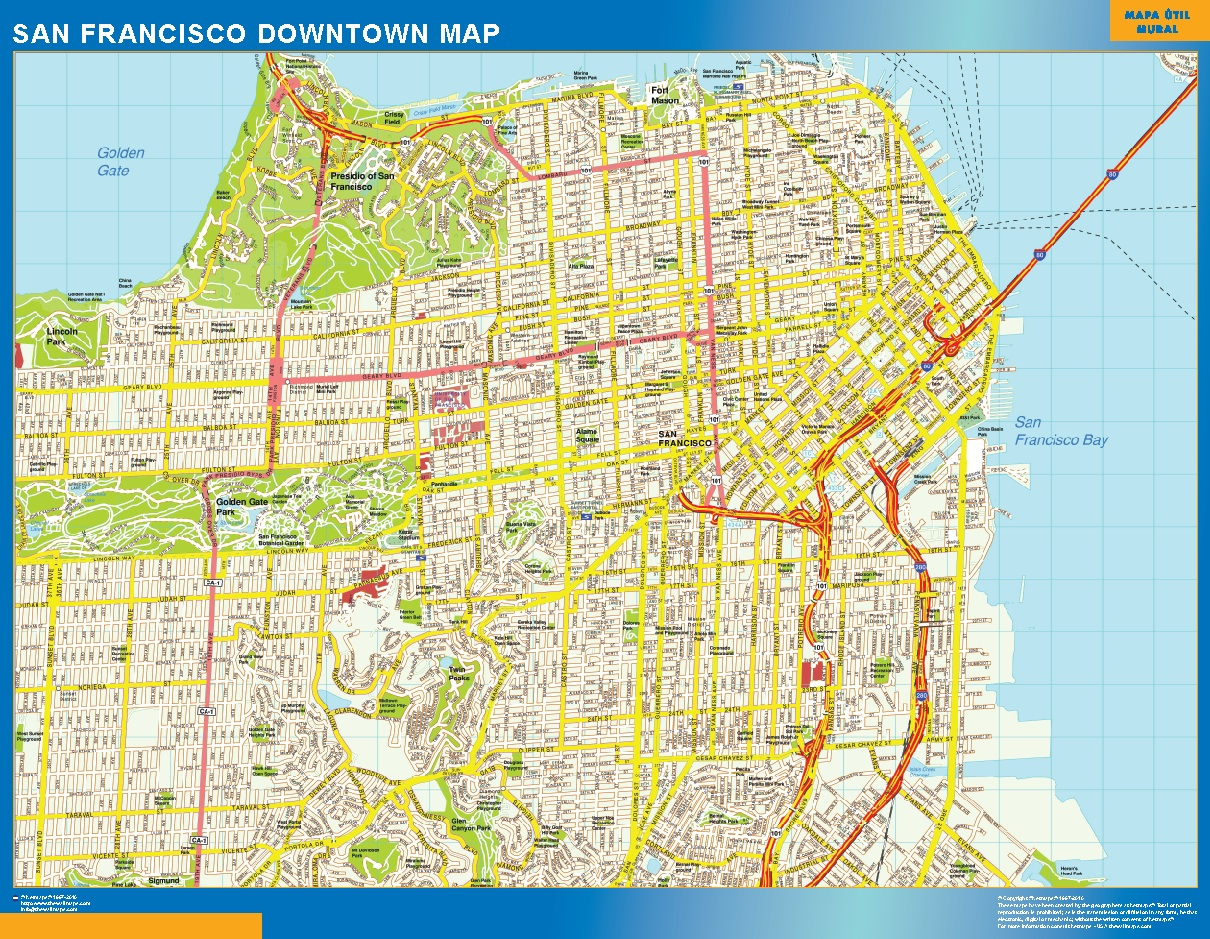San Francisco Downtown Map Wall Maps Of The World Countries