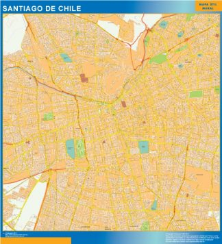 Biggest Santiago De Chile wall map