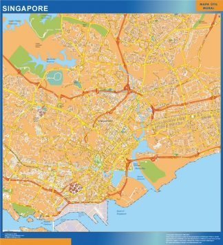 Biggest Singapore laminated map
