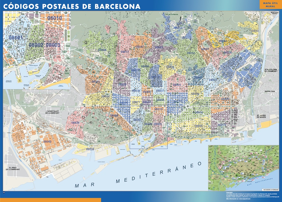 Zip Codes Barcelona Map Wall Maps Of The World Countries For Australia