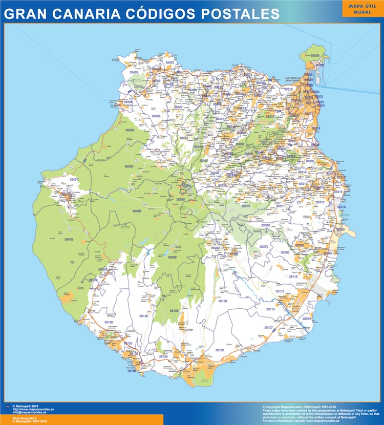 Biggest Zip Codes Isla Gran Canaria Map Wall Maps Of The World