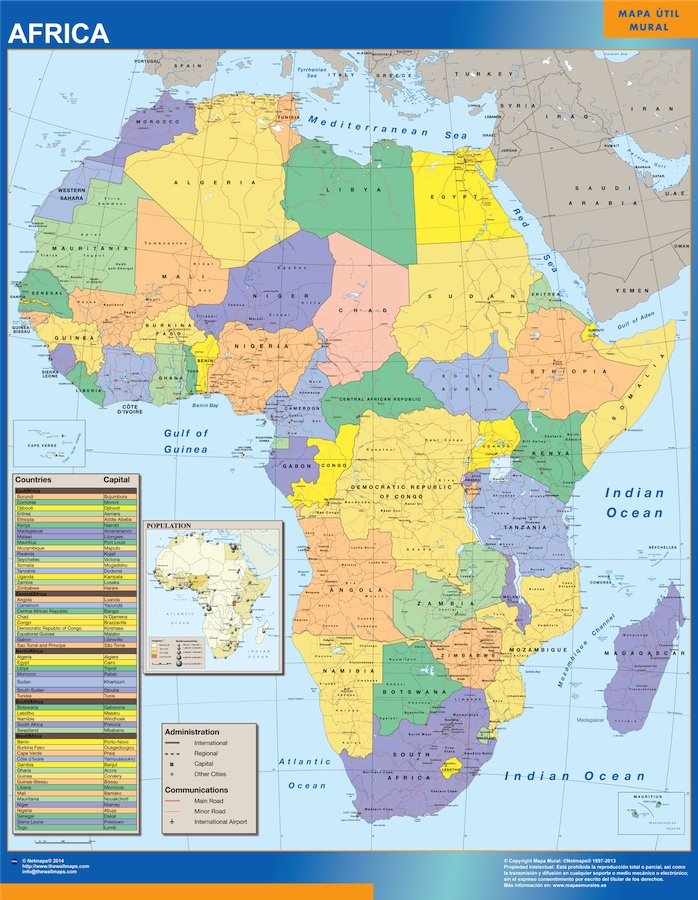 Cartina Africa In Italiano.Biggest Africa Political Wall Map Wall Maps Of The World Countries For Australia