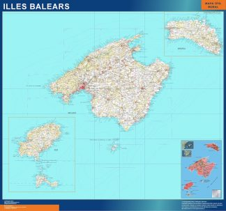 Biggest map of Balears islands mountains
