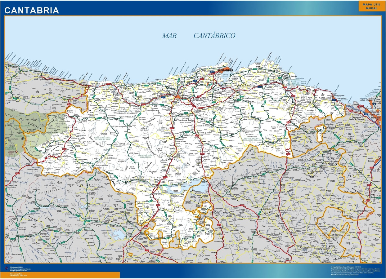 Map Of Cantabria Roads Wall Maps Of The World Countries For