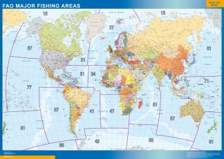 Biggest world wall map fao fishing areas
